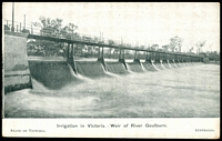 Lot 43:Australia - American Fleet: Black & white PPC 'Victoria Welcomes the American Fleet' with scene 'Irrigation in Victoria, Weir of River Goulburn' issued by Victorian Government, fine Fleet card.