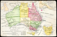 Lot 35:Australia: multi-coloured PPC with map of Australia and 1910 Statisics, nice card.