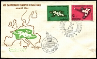 Lot 4343:1964 European Baseball illustrated FDC with set tied by special cancel 29 Agusto 1964, unaddressed.