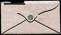 Lot 1958 [2 of 2]:1857 Mourning envelope with enclosed letter with 4d Chalon tied by Hobart killer cancel with red Prepaid 26 DE 1867 cds and backstamped with boxed red Prepaid 27 DE 1867, roughly opened.