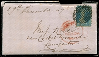 Lot 1958 [1 of 2]:1857 Mourning envelope with enclosed letter with 4d Chalon tied by Hobart killer cancel with red Prepaid 26 DE 1867 cds and backstamped with boxed red Prepaid 27 DE 1867, roughly opened.