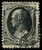 Lot 4492:1873 Thin to Thick Paper With No Grill Sc #165 30c grey black