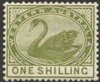Lot 2970:1885-93 Typo Wmk Crown/CA (Sideways) Perf 14 SG #102 1/- olive-green