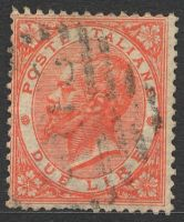 Lot 21064:1863 Victor Emanuel II SG #16 2L pale scarlet, Cat £30, few pulled perfs.