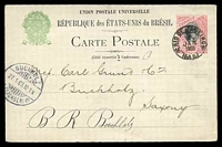Lot 3719:1898 Liberty Facing Right HG #27 100r red & black, to Germany, cancelled at Rio De Janeiro in 1903, minor crease on card.