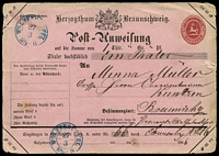 Lot 21566 [1 of 2]:Money Order 1865 1gr carmine on pink, type 1, line under Bemerkungen 13mm, Mi #A1I cancelled with blue double-circle 'WOLFENBUTTEL/27/3/10½-11' (B1 - 1866).