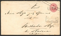 Lot 3510 [1 of 2]:1862 Eagle 2 Lines Through Stamp Mi #U23 1sgr rose on white paper, cancelled with boxed 'ST. GUAR/11 8 * ?