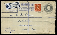 Lot 22438:1952 KGV HG #C81 8½d grey on buff (Huggins & Baker #RP71), uprated with QEII ½ red, size G, small flap fault.