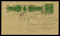Lot 23435:1935 Rama Varma III HG #14 4p green on buff, to Ollur, cancelled Cochin on 9SDA15, spike hole.