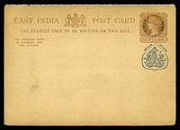 Lot 20762:1885 Curved 'JHIND STATE' HG #4 ¼a+¼a red-brown on buff (address half only).