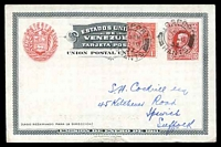Lot 28832:1911 Centenary of Independence HG #18a 10c carmine on bluish white glossy paper, uprated with GB 1d KGV, minor tear at bottom on card, philatelically used in 1932 as ship mail.