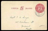Lot 21822:1927 SE Monogram HG #3 1d carmine on gray, cancelled with 'IN BEAR MOR/515PM/7IX/31/Co CILL MANTAIN'.