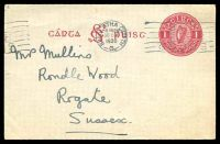 Lot 3818:1927 SE Monogram HG #3 1d carmine on gray, cancelled with Dublin machine of 30OCT/1930 with 'BUY/IRISH/GOODS' slogan.