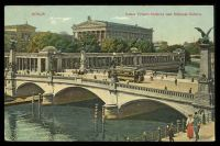 Lot 73 [1 of 2]:Germany: Max O'Brien & Co Multi-coloured PPC of Berlin Bridge and National Gallery with tram going over bridge, 1910 use.