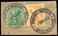 Lot 1804:Biggenden: - 'BIGGENDEN/19NO45/QUEENSLAND' (blocks recut to arcs) on 4d Koala & ½d Roo. [Rated R]  PO 16/5/1891; RO 1/4/1893; PO c.1895.
