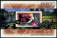 Lot 909:1996-2001 Nature of Australia Definitives $10 Kakadu Wetlands m/s with 'Pacifica '97' opt.