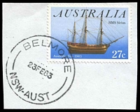Lot 6216:Belmore (3): - 'BELMORE/23FE83/NSW-AUST' on 27c.  PO 19/8/1907.