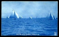Lot 463:Germany: Delft blue PPC of 'Kiel:50=Jenny,=Rose u.Klasse 5 u.6.' showing yachts racing.