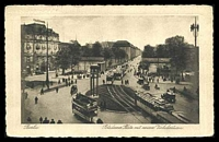 Lot 447 [1 of 2]:Germany: Corg Stlitke black & white PPC of 'Berlin. Potsdamer Platz mit neum Verkelsturm' view of trams at intersection, 1928 use to Belgium.