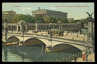 Lot 403 [1 of 2]:Germany: Max O'Brien & Co Multi-coloured PPC of Berlin Bridge and National Gallery with tram going over bridge, 1910 use.
