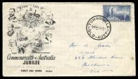 Lot 795:Wide World 1951 Federation 5½d blue on illustrated cover cancelled at TOWNSVILLE/6-P-1MY51/QLD-AUST' (A1+), hand-addressed.