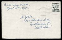 Lot 18511:1957 Loon 5c black on plain FDC, cancelled at Victoria on  APR/10/1957, addressed to Australia.