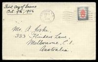 Lot 18510:1956 Prevent Fires 5c on plain FDC cancelled at Victoria on OCT9/1956, addressed to Australia.
