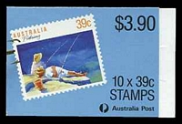 Lot 3724:1989 Fishing BW #B163 $3.90 Leigh-Mardon full perf CPL paper, Cat $12.