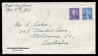 Lot 19943:1955 Prime Ministers 4c Bennett & 5c Tupper on plain FDC to Australia.