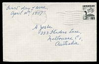Lot 19945:1957 Loon 5c black on plain FDC, cancelled at Victoria on  APR/10/1957, addressed to Australia.