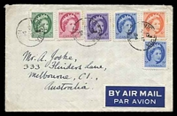 Lot 19916:1954 use of 2c, 3c, 4c, 5c x2 & 6c on air cover to Australia.
