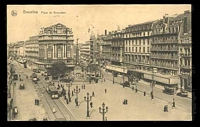 Lot 401 [1 of 2]:Belgium: Ern Thill black & white PPC of 'Bruxelles place de Brouckere', view of town main street with trams, cars & people, used 1932 but stamp removed.