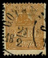 Lot 28511:1862-63 Lion and Arms SG #12c 3ö bistre-brown, Type II, Cat £16, small tear at base, straight edge at right