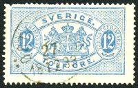 Lot 28607:1874-98: SG #O34a 12ö light-blue, P13, Cat £15, some missing perfs.