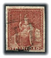 Lot 29042:1851 Britannia White Paper SG #12 (1d) rose-red, Cat £65, 4 complete margins.