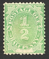 Lot 3363:1902 Converted NSW Plates BW #D1 ½d emerald, P11½-12, Cat $10, very faint discolouration on front