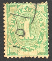 Lot 3406:1902 Converted NSW Plates BW #D5 1d emerald, P11x11½, Cat $200, toned with two missing perfs at top, mss cancel