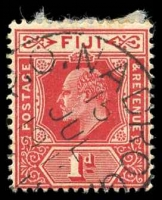 Lot 3942:Nadroga: 'P.O.NADROG[A]/15/JUL/1912/[FIJI]', on KEVII 1d red.  PO c.1890; renamed Sigatoka PO c.-/6/1968.