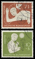 Lot 3777:1956 Youth Hostels Fund Mi #232-3 set of 2, Cat €14.