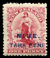 Lot 26050:1902 Wmk Single-Lined NZ and Star SG #9c 1d carmine, No stop after 'PENI', toning around edges.