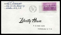 Lot 26126:Army Airforce 'ARMY-AIR FORCE POSTAL SERVICE/DEC4/1956/915' (Wheeler AFB) on local cover to Honolulu with US 3c armed forces.