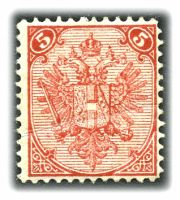 Lot 3547:1879-98 Lithographed Arms SG #9 5kr rose-red P12, Cat £70, creased.
