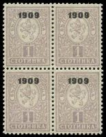 Lot 3413:1909 Lion Overprints SG #146 1s dull mauve block of 4.