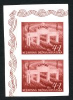 Lot 3480:1942 National Welfare Mi #84U 4K+2 carmine-brown imperf vertical pair, Cat €50, ungummed, marginal creasing, not listed in this colour.