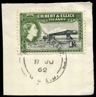 Lot 22896:Betio: light strike of 'BETIO-TARAWA/8JU/62/G.E.I.C.' on 1/- QEII Pictorial.  PO 5/4/1957; closed 12/2/1964.
