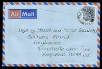 Lot 21436 [1 of 2]:1985 use of GB 17p grey-blue Machin cancelled by excellent strike of double circle FPO 757 on air cover to UK.