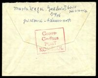 Lot 21589 [2 of 2]:1947 of 'VIBORG/1900/19MAR/1947/* * *' (B1) 40ö meter cancel with 'Grove-/Gedhus/POST/KONTROL' (B1) boxed handstamp on rear in red.