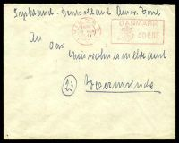Lot 3674 [1 of 2]:1947 of 'VIBORG/1900/19MAR/1947/* * *' (B1) 40ö meter cancel with 'Grove-/Gedhus/POST/KONTROL' (B1) boxed handstamp on rear in red.