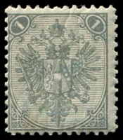 Lot 19571:1879-98 Lithographed Arms SG #1 1kr light grey, Cat £23, minor gum creasing light blue crayon on face.