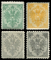 Lot 3613:1879-98 Typographed Arms short set to 3kr (4), 1kr has corner crease.